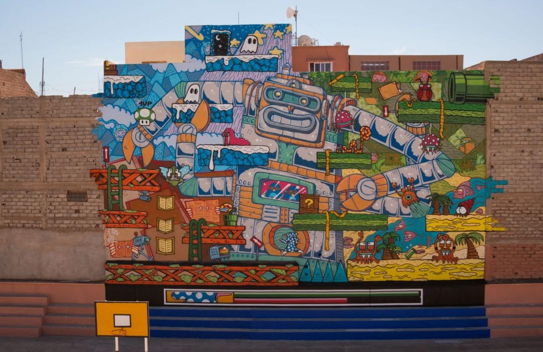 360m<sup>2</sup> de fresque dans un collège de Marrakech